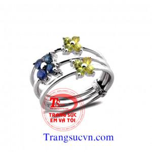 Nhẫn saphir vàng-saphir xanh-vàng trắng