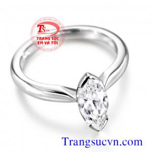 Nhẫn nữ Topaz trắng