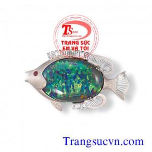 Mặt dây đá quý opal cá