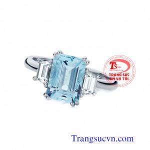 Nhẫn đá Aquamarine nữ