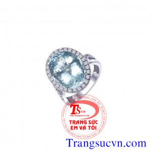 Nhẫn Aquamarine vàng 14k trắng