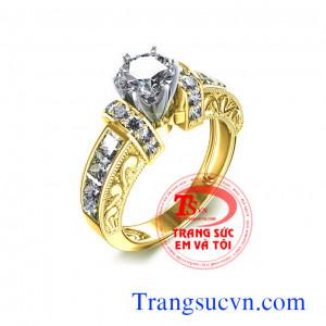 Nhẫn vàng tây kim cương