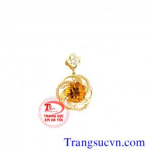 Mặt dây chuyền đá Citrine vàng 14k