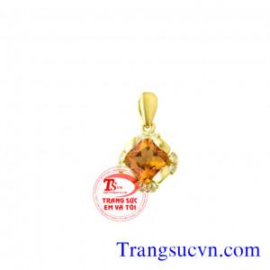 Thạch anh vàng mặt dây vàng tây 14k
