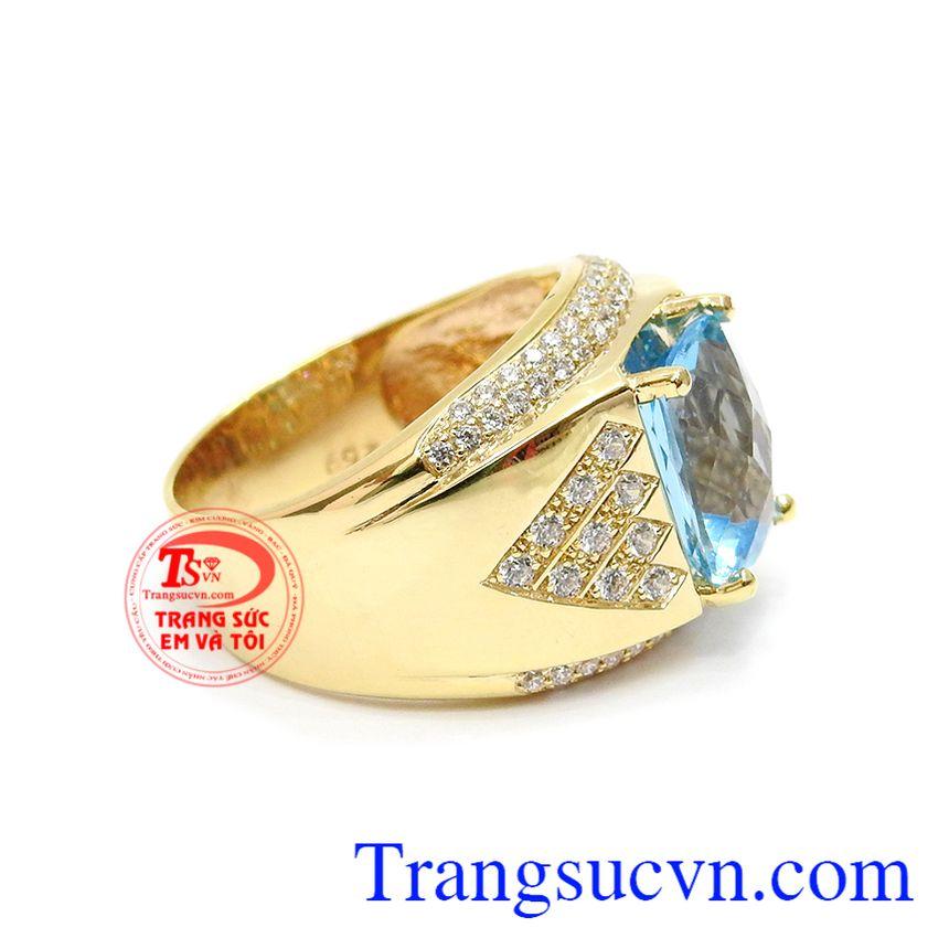 Nhẫn nam vàng Topaz xanh Nhẫn nam vàng Topaz xanh nước biểnnước biển