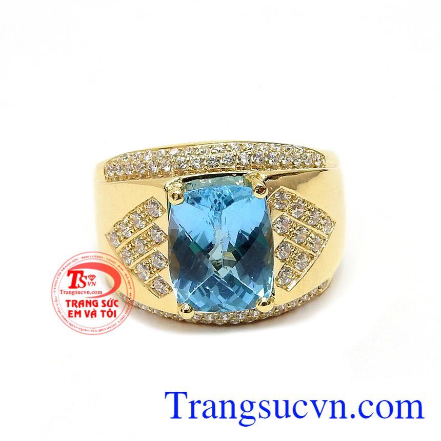 Nhẫn nam vàng Topaz xanh nước biển