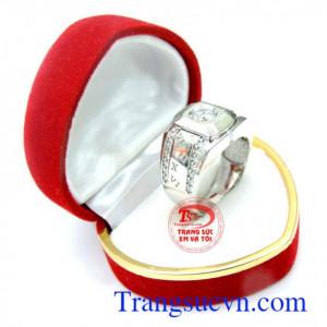 Nhẫn nam vàng trắng đá quý korea