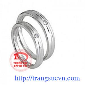 Nhẫn cưới vàng trắng 10k