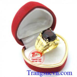 Nhẫn nam vàng tây Granat 14k