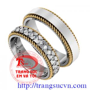 Đôi Nhẫn cưới kim cương thiên nhiên