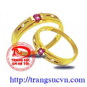 Nhẫn cưới gắn ruby
