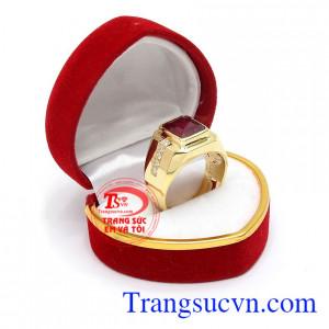 Nhẫn nam ruby đẹp vàng 14k