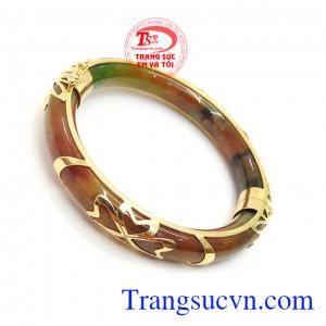 Vòng Ngọc Bọc Vàng Bình An, vòng cẩm thạch bọc vàng 10k chất lượng.