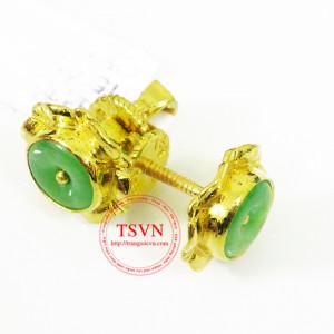 Bông tai vàng 999 gắn ngọc cẩm thạch