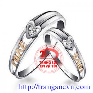 Đôi nhẫn cưới love gắn kim cương