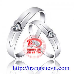 cặp nhẫn kim cương tim