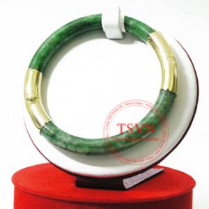 vòng ngọc cẩm thạch sơn thủy nạm vàng