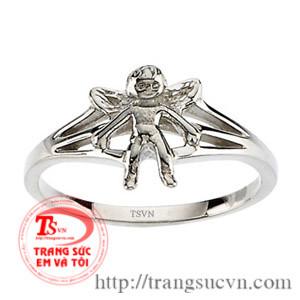 Nhẫn vàng trắng Thiên Thần