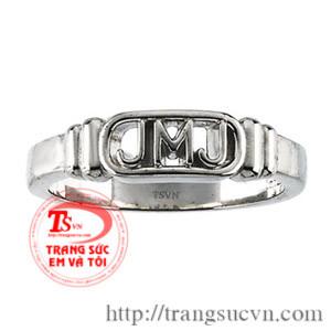 nhẫn vàng trắng 14k