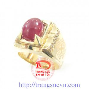 Nhẫn nam đá Hồng Ngọc