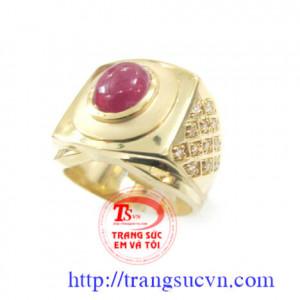 Nhẫn đá ruby tự nhiên