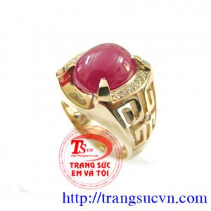 Nhẫn nam vàng tây_Ruby Yên bái