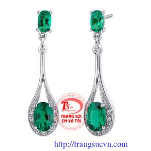 Bông tai ngọc lục bảo-Emerald