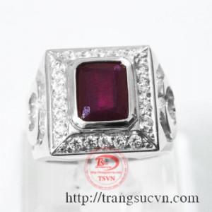 Nhẫn vàng trắng 14k đá ruby