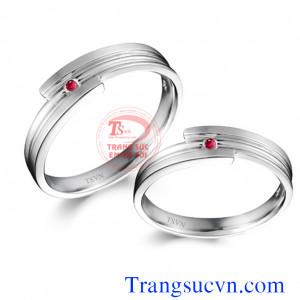 Nhẫn cưới vàng trắng ruby