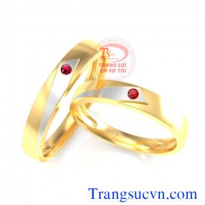 Nhẫn cưới vàng ruby
