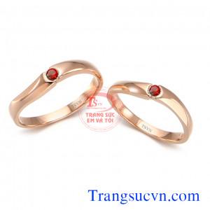 Đôi nhẫn cưới ruby mệnh hỏa