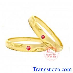 Cặp nhẫn ruby cưới