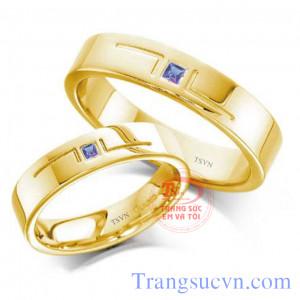 Nhẫn cưới sapphire xanh