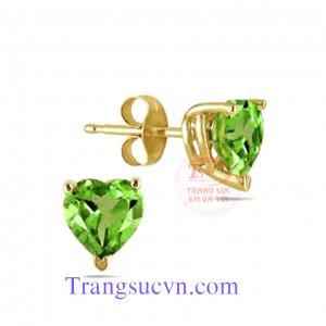 Trái tim peridot hoa tai vàng