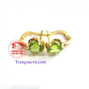 Đôi hoa tai vàng tây đá peridot thiên nhiên