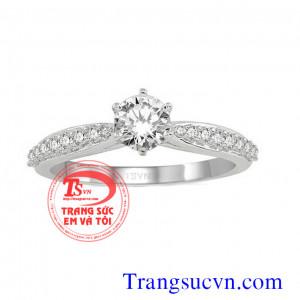 Nhẫn kim hạt nhỏ vàng trắng