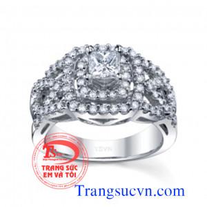 Nhẫn nữ vàng trắng kết kim cương