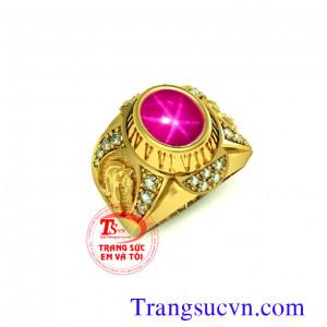 Nhẫn ruby sao to vàng tây