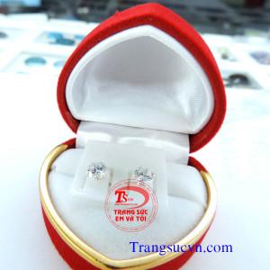 Bông tai bạc gắn kim cương nhân tạo 3,0 ly