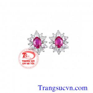 Hoa tai Ruby và kim cương
