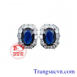 Natural Sapphire vàng tây 18k gắn kim cương
