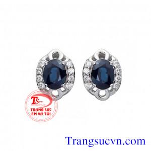 Hoa tai đá Saphir tư nhiên và kim cương
