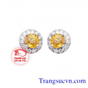 Hoa tai đá saphir vàng và kim cương