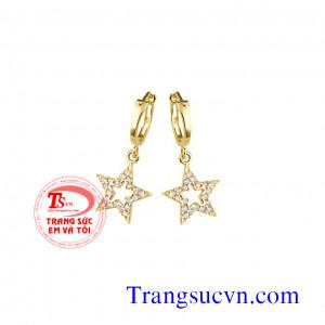 Hoa tai sao kim cương thiên nhiên vàng 18k