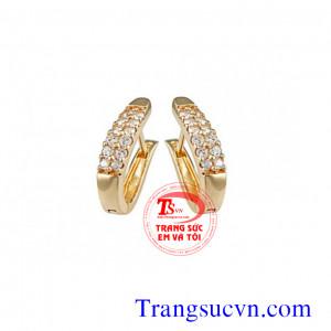 Kim cương hoa tai vàng 18k