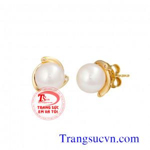 Ngọc trai hoa tai vàng kim cương