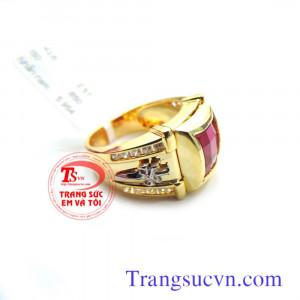 Nhẫn nam vàng tây đá đỏ