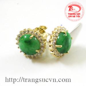 Hoa tai ngọc jadeite (ngọc cẩm thạch)