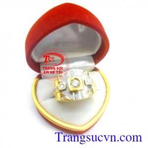 Nhẫn nam vàng tây đá