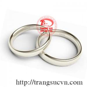 Nhẫn cưới trơn vàng trắng 14k
